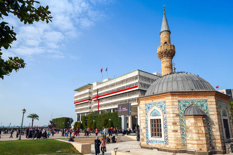 Camii mosque on Konak square, Izmir, Turkey royalty free stock image