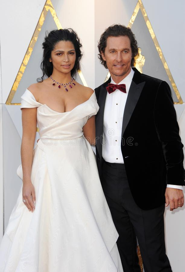 Camila Alves and Matthew McConaughey. At the 90th Annual Academy Awards held at the Dolby Theatre in Hollywood, USA on March 4, 2018 royalty free stock photography