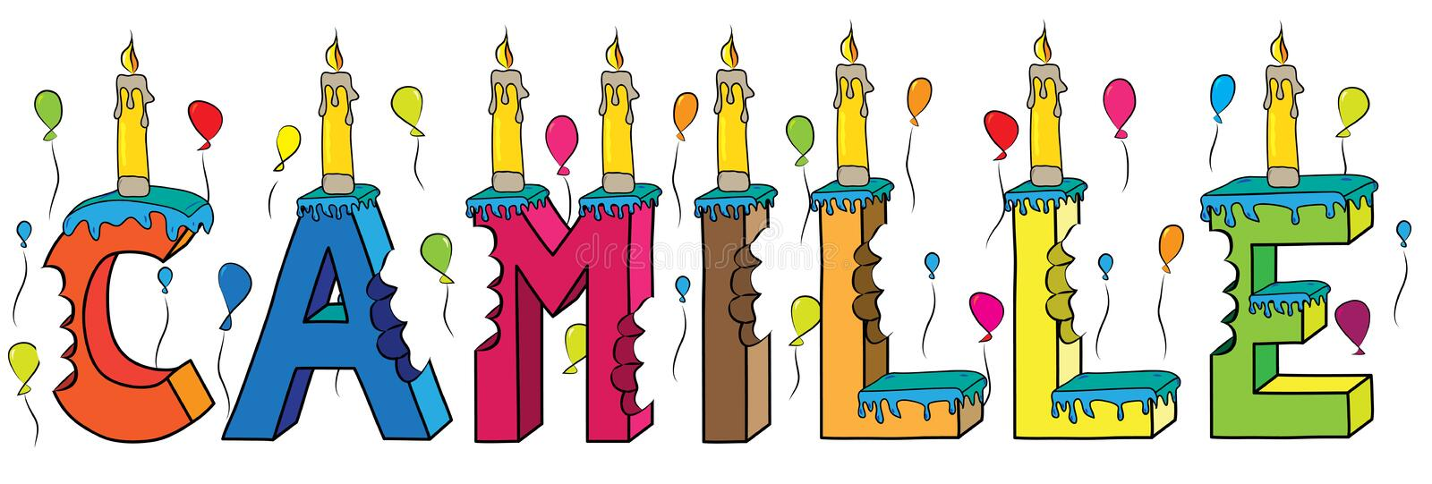 Camille female first name bitten colorful 3d lettering birthday cake with candles and balloons royalty free illustration