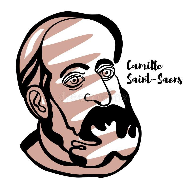 Camille Saint-Saens Portrait stock illustration