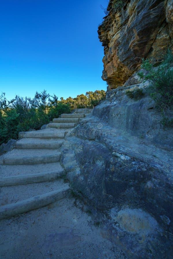 Caminando el paseo del acantilado del Henrio del príncipe, montañas azules parque nacional, Australia 6 imagen de archivo libre de regalías