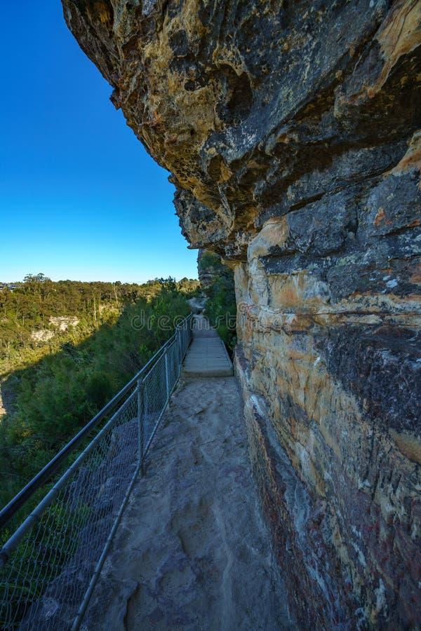 Caminando el paseo del acantilado del Henrio del príncipe, montañas azules parque nacional, Australia 5 imagen de archivo