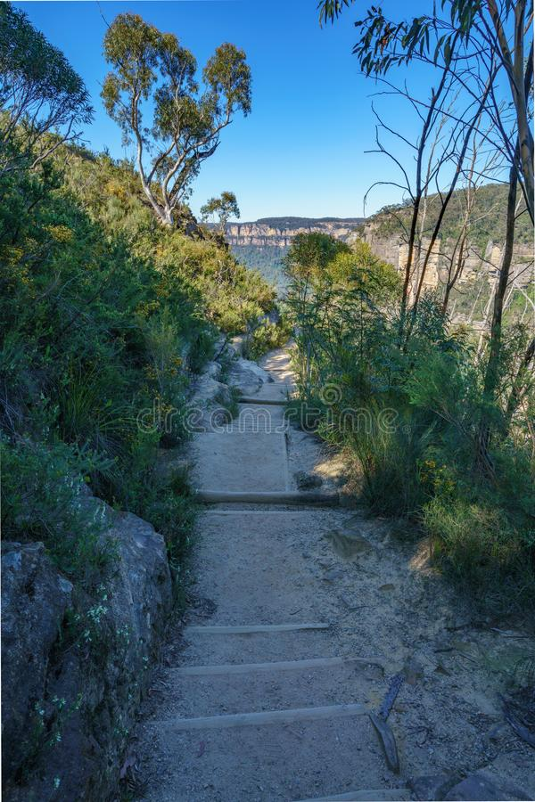 Caminando el paseo del acantilado del Henrio del príncipe, montañas azules parque nacional, Australia 7 fotografía de archivo libre de regalías