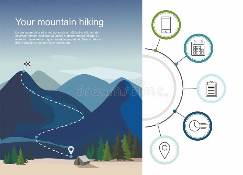 Caminando la ruta infographic con cinco pasos Capas de paisaje de la montaña con los abetos ilustración del vector