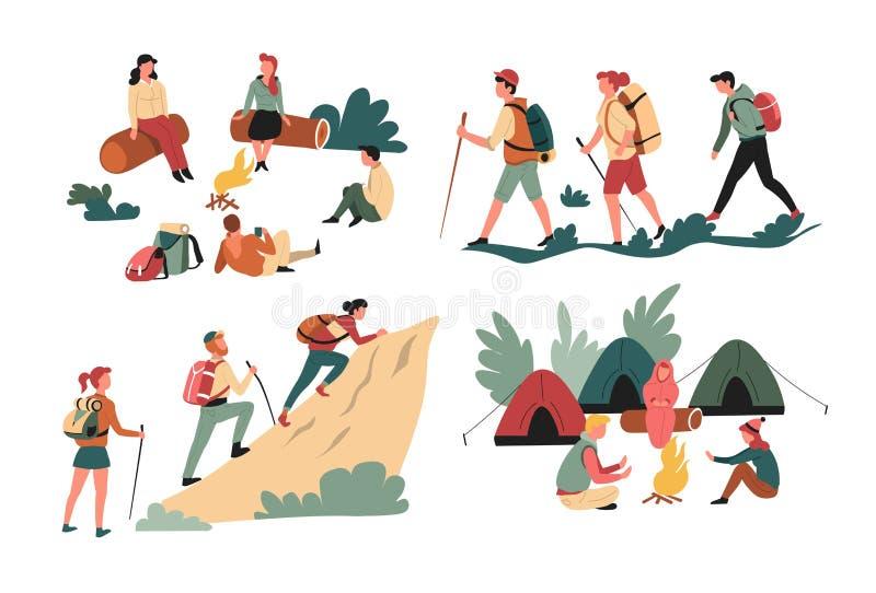 Caminando a los amigos que hacen excursionismo y montañas que acampan y caracteres aislados bosque ilustración del vector