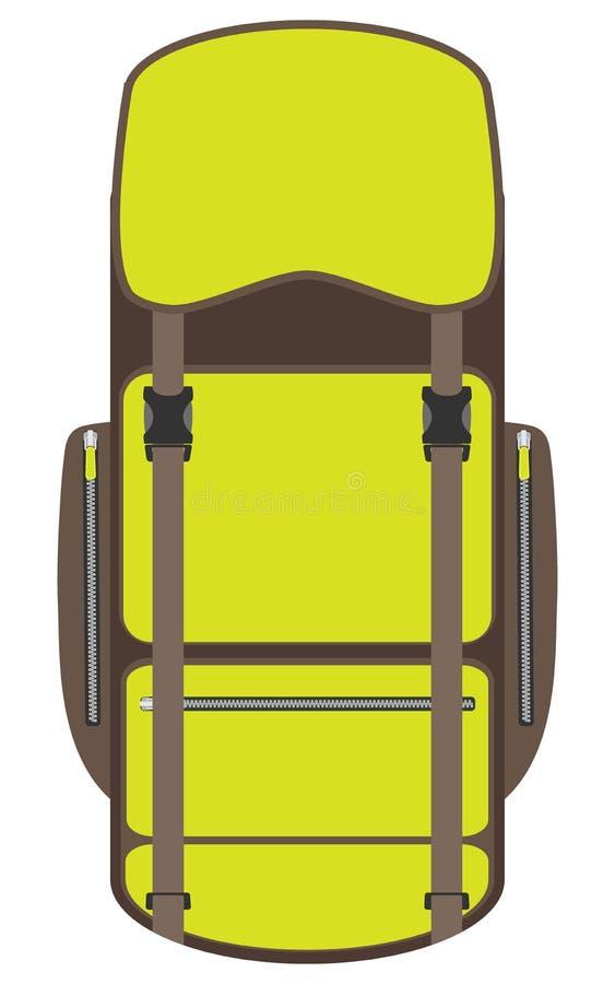 Caminando y mochila del viaje aislada en el fondo blanco Mochila turística en diseño plano Campo y bolso y mochila del alza Vecto libre illustration