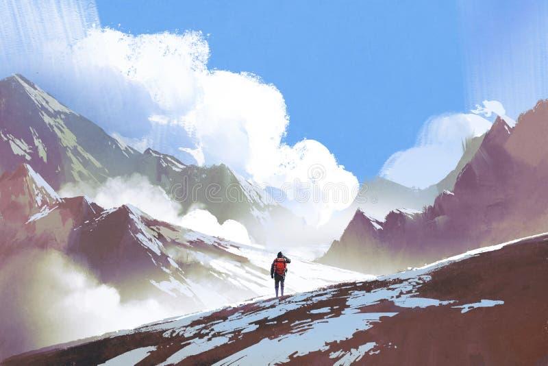Caminante con la mochila que mira las montañas ilustración del vector