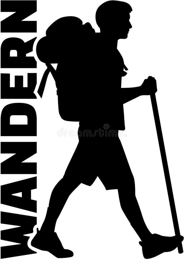 Caminante con palabra alemana ilustración del vector