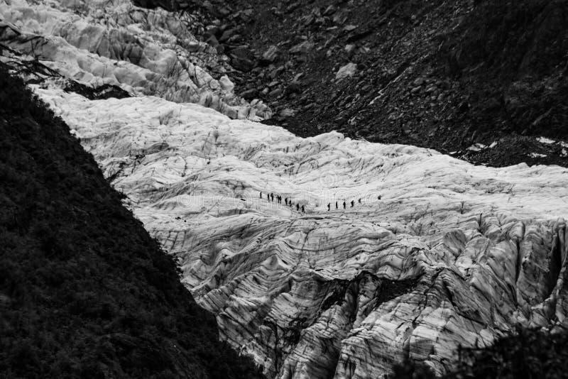 Caminante en el glaciar imagen de archivo libre de regalías