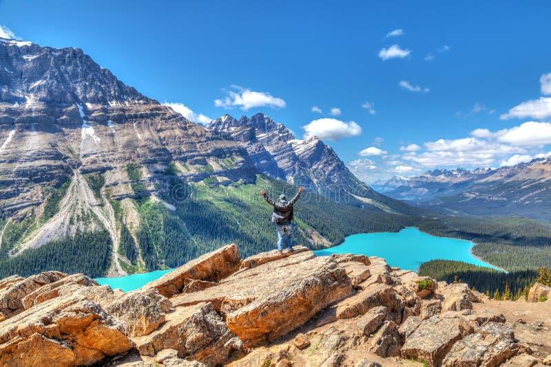 Caminante en la cumbre del arco que pasa por alto el lago Peyto en par del nacional de Banff fotografía de archivo