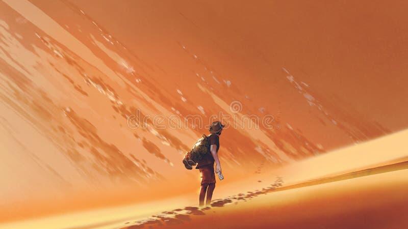 Caminante masculino que camina en desierto de la arena stock de ilustración