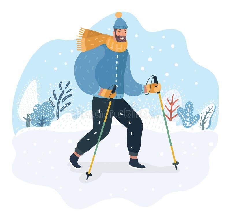 Caminante nórdico en bubón divertido del sombrero ilustración del vector