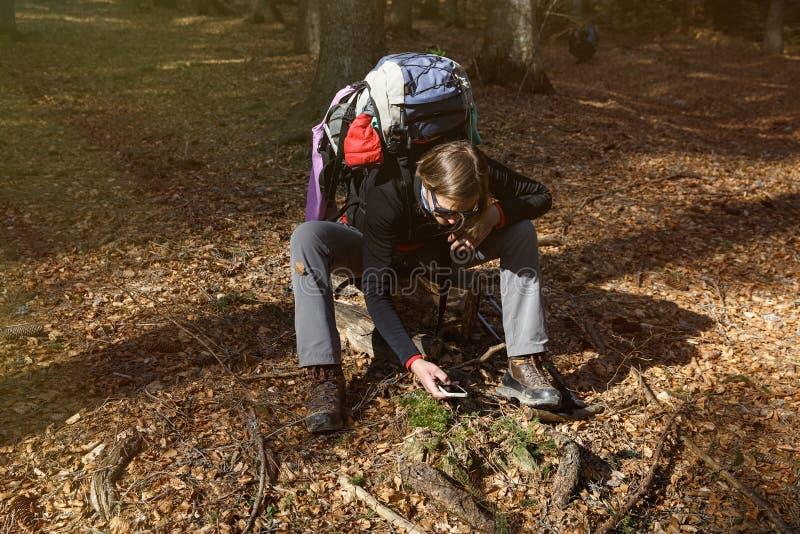 Caminante que toma las fotografías en su alza a través del bosque imagen de archivo libre de regalías