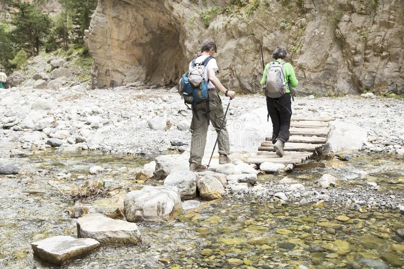 Caminantes en Samaria Gorge foto de archivo