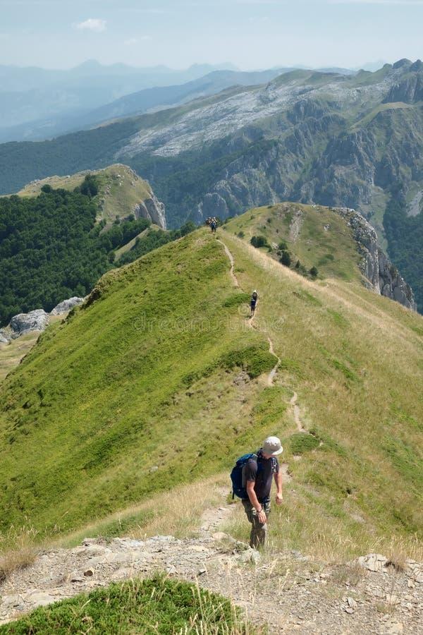 Caminantes que caminan en el rastro de la montaña Ridge, Montenegro fotos de archivo libres de regalías