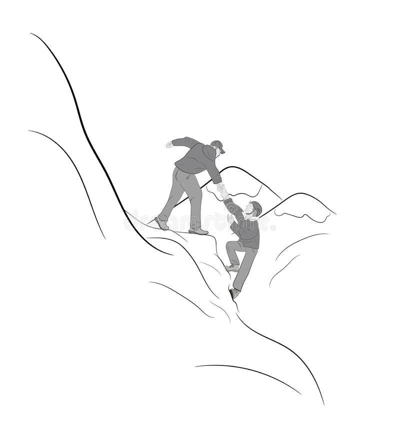 Caminantes que suben en la roca, montaña, uno de ellos que dan la mano y que ayudan a subir Ayude, apoye, ayuda en un situatio pe ilustración del vector