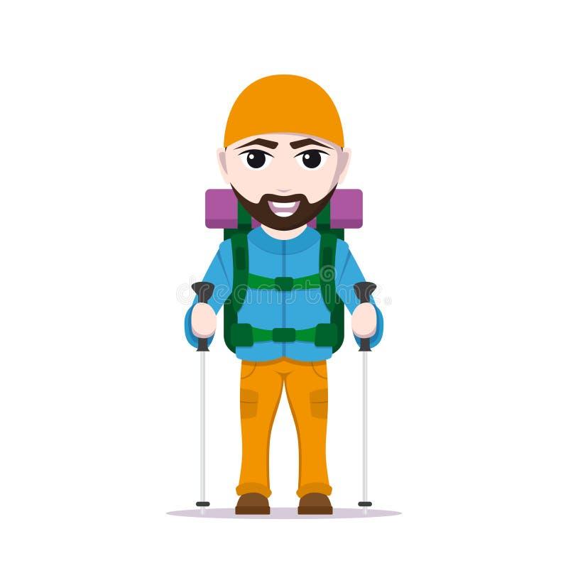Caminar al hombre turístico libre illustration