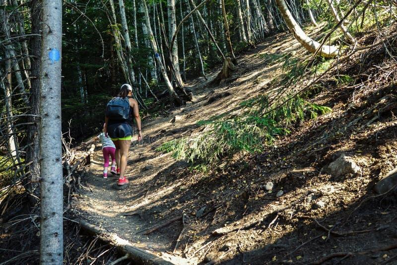 Caminar cuesta arriba una montaña Paseo de la mamá y de la hija en una trayectoria fotografía de archivo