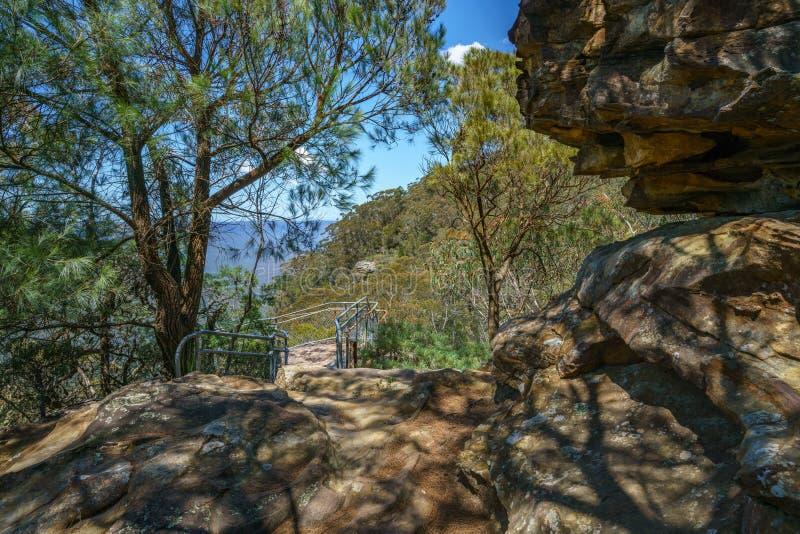 Caminar el paseo del acantilado del Henrio del príncipe, montañas azules, Australia 48 fotografía de archivo libre de regalías
