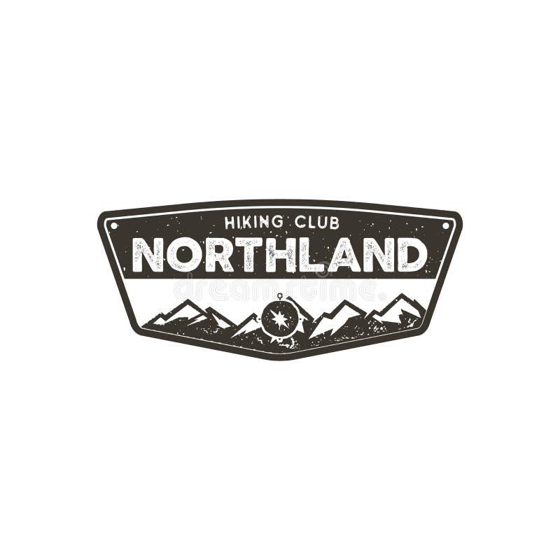 Caminar la insignia del club Emblema del campo de la aventura del explorador Diseño dibujado mano del vintage Diseño monocromátic ilustración del vector