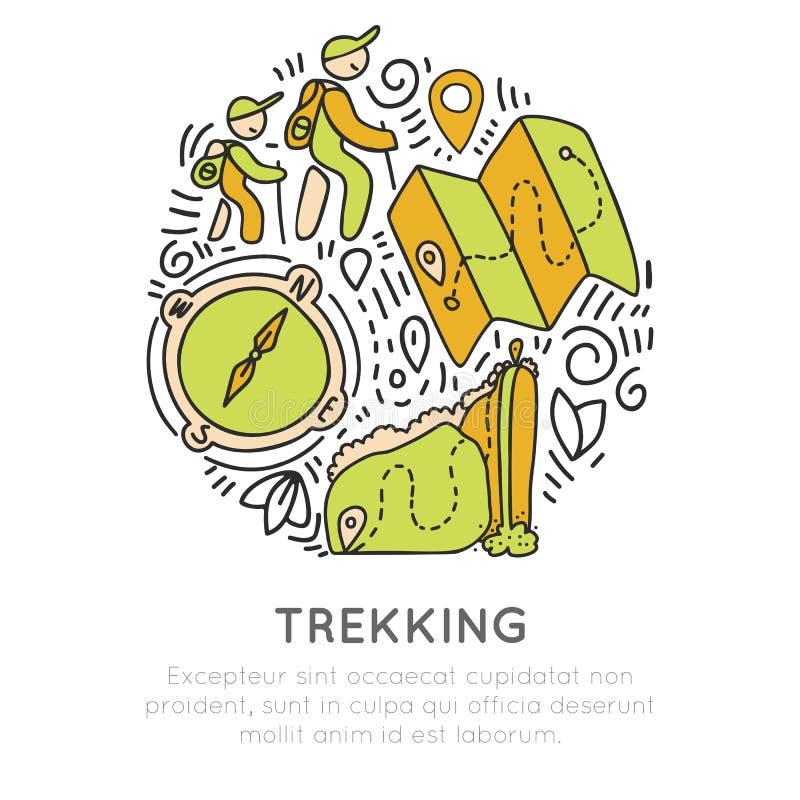 Caminar y emigrar la mano del icono dibujan concepto del vector en forma redonda Viaje que sube y que acampa, siguiendo outroor ilustración del vector