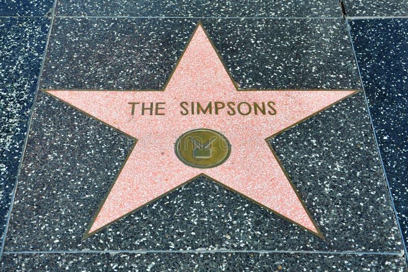 Caminata de Hollywood de la fama - el Simpsons fotografía de archivo