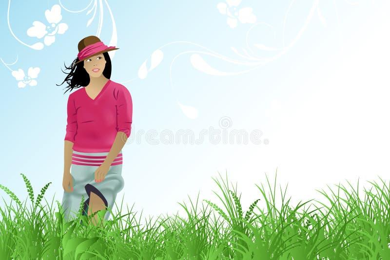 Caminata de la muchacha en el campo ilustración del vector