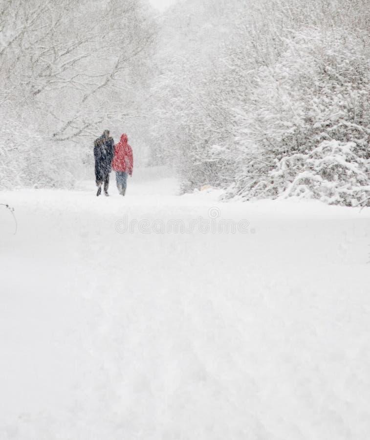 Caminata del hombre y de la mujer en nieve imagen de archivo
