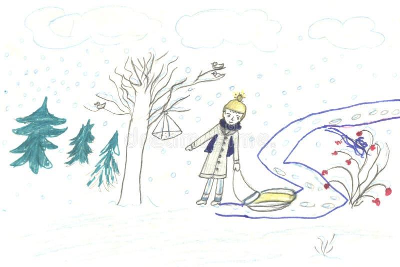 Caminata del niño con el trineo, drenando libre illustration