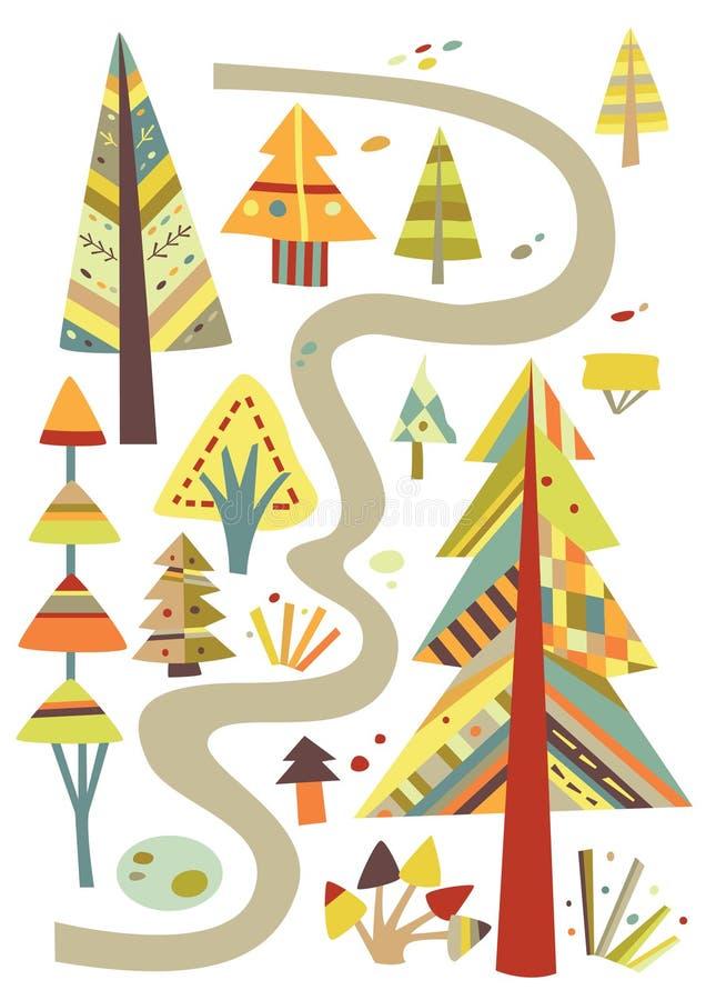 Caminata en el bosque libre illustration