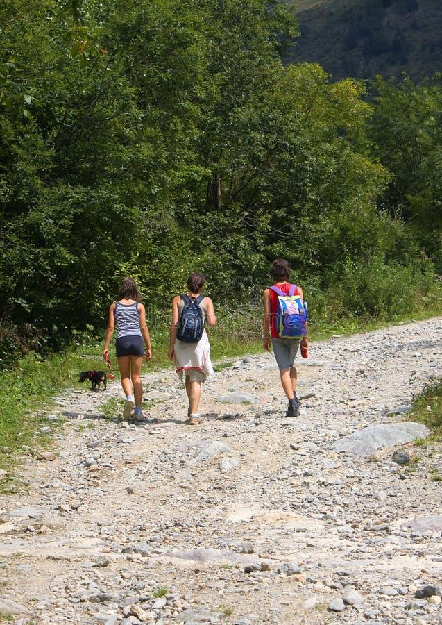 Caminata en el camino fotografía de archivo