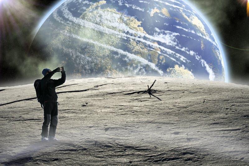 Caminata en la luna. ilustración del vector