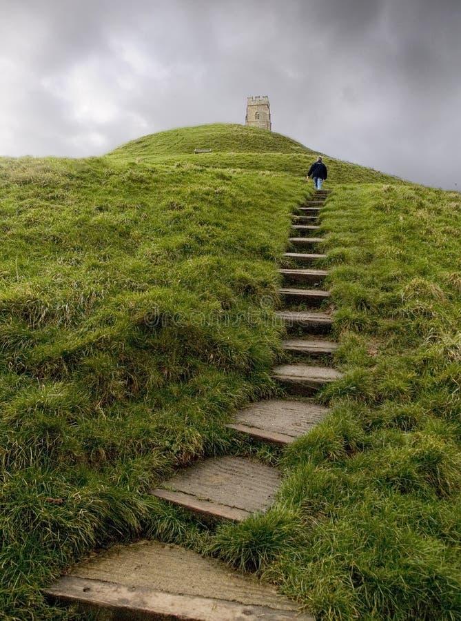 Caminata encima del Tor de Glastonbury imagen de archivo