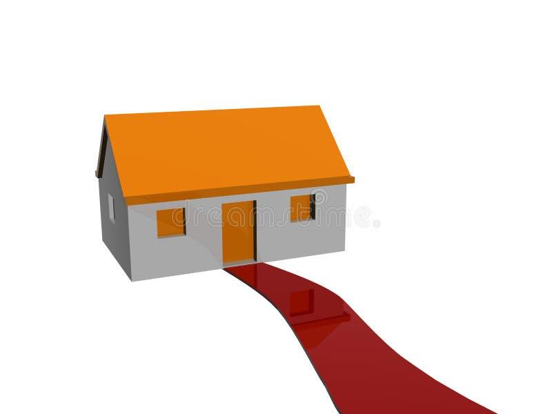 Caminata a la casa stock de ilustración