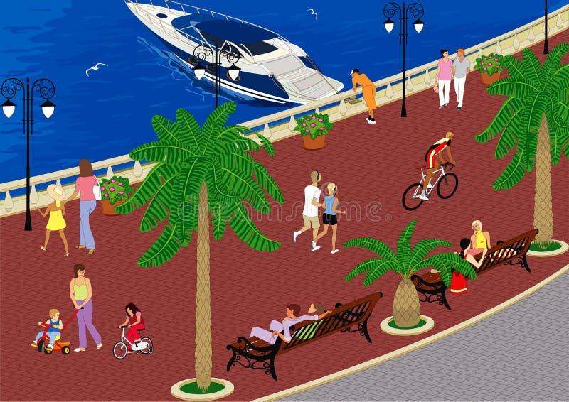 Caminata a lo largo de la 'promenade' ilustración del vector