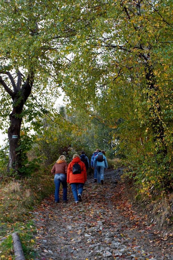 Caminata otoñal imagen de archivo