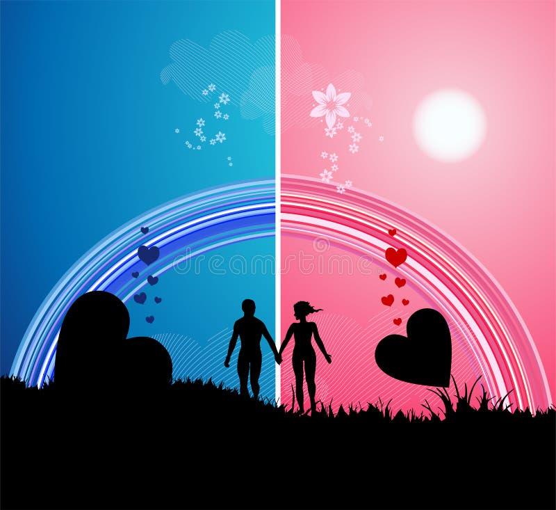 Caminata romántica stock de ilustración