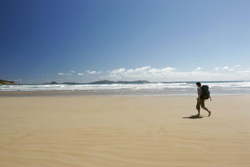 Caminata solitaria de la playa imagen de archivo libre de regalías