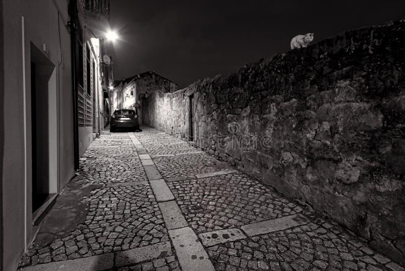 Caminatas por la noche en la antigua ciudad portuguesa de Oporto En las calles portuguesas Portugal Negro y blanco fotos de archivo