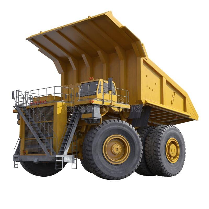 Caminhão amarelo muito grande do descarga-corpo no branco ilustração 3D ilustração stock