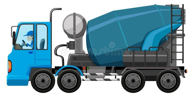 Caminhão azul do cimento com motorista ilustração royalty free
