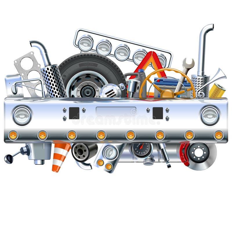Caminhão Bamper do vetor com sobressalentes ilustração stock