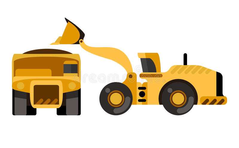 Caminhão basculante da carga do carregador da roda ilustração royalty free