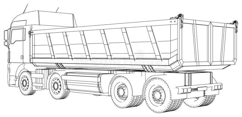Caminhão basculante do caminhão basculante isolado Ilustração criada de 3d Fio-quadro ilustração do vetor