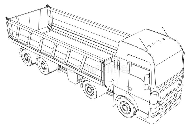 Caminhão basculante do caminhão basculante isolado Ilustração de seguimento de 3d Formato do vetor do EPS 10 ilustração do vetor
