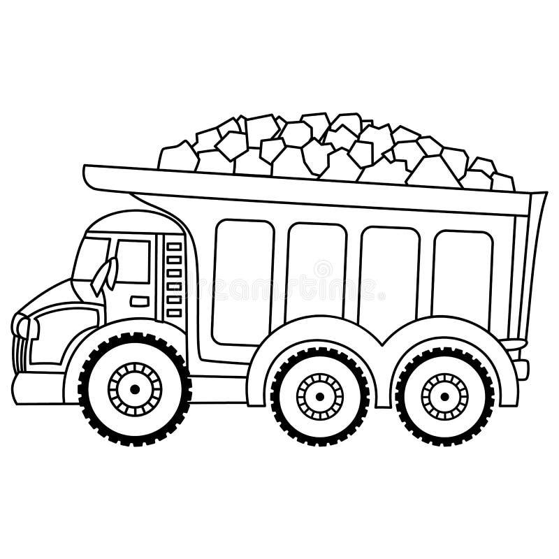 Caminhão basculante do vetor semi-caminhão comercial Olá!-detalhado no branco ilustração royalty free