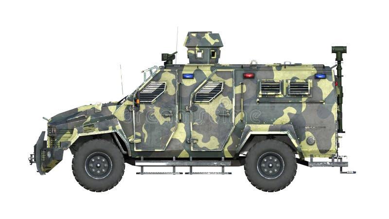 Caminhão blindado de SUV, veículo de exército à prova de balas, carro militar do camo isolado no fundo branco, vista lateral, 3D  ilustração stock