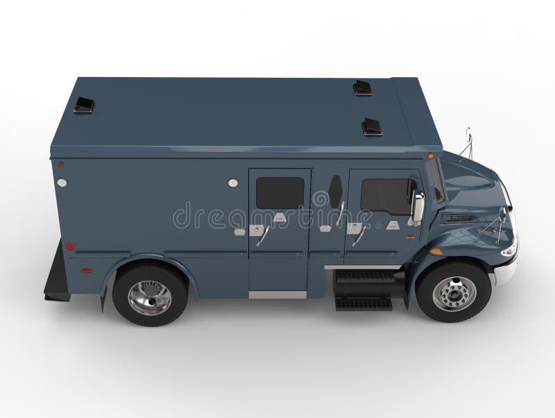 Caminhão blindado do transporte dos azuis marinhos - cubra abaixo da vista lateral ilustração stock