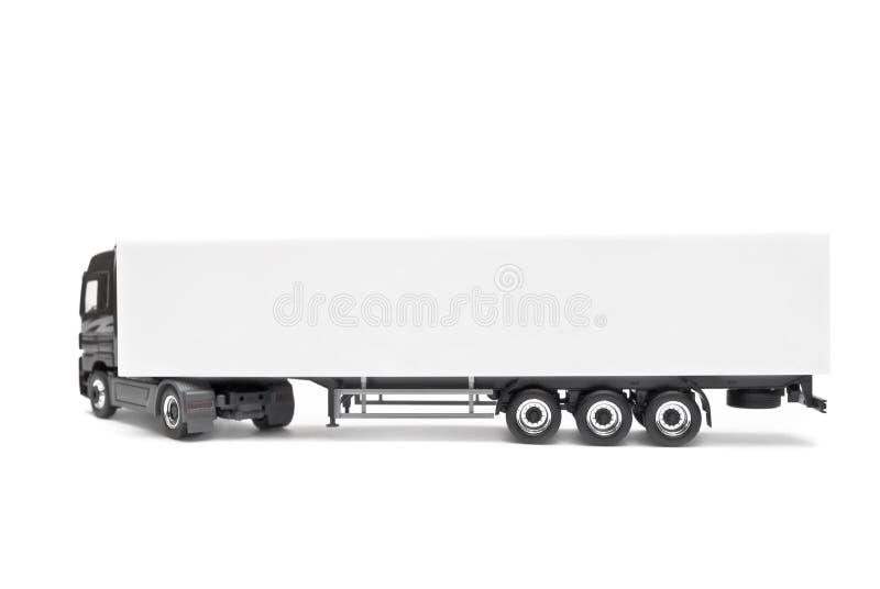 Caminhão branco em branco isolado em um fundo branco fotografia de stock