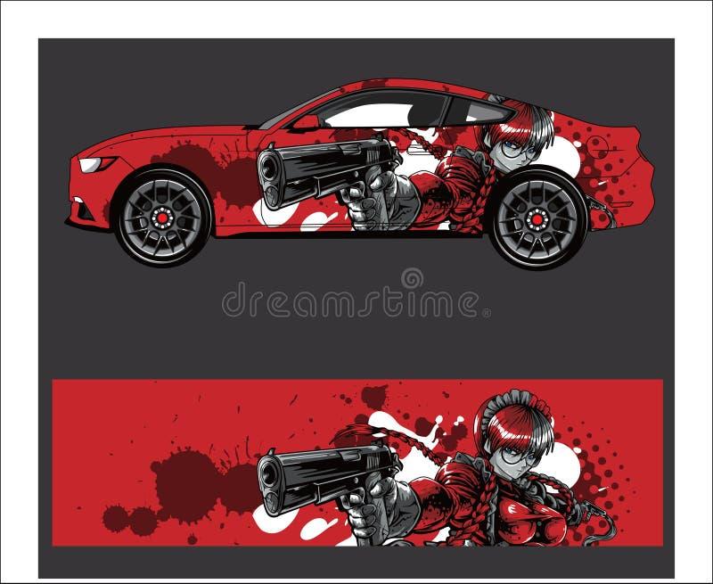 Caminhão, carro e sumário do veículo que compete o fundo gráfico do jogo para a etiqueta do envoltório e do vinil ilustração royalty free